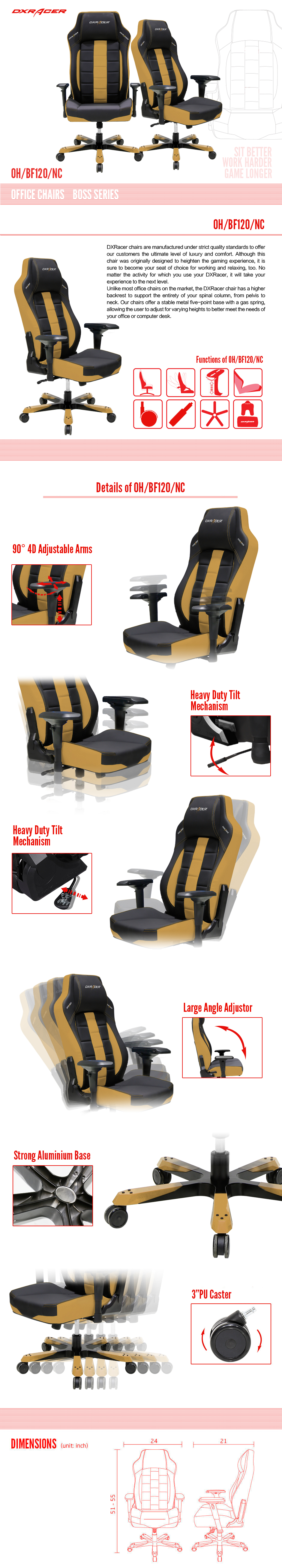 dxracer office chairs oh  bf120  nc ergonomic desk chair big Movable Office Workstations office furniture movable walls