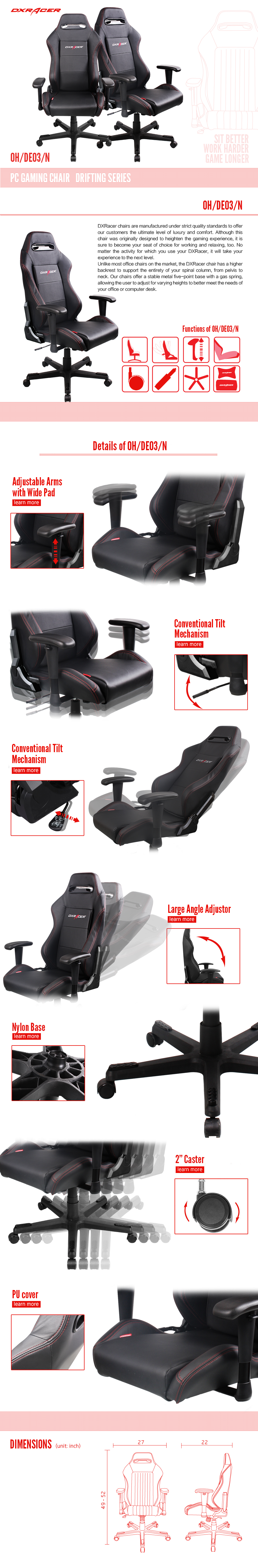 dxracer office chairs de03  n pc game chair racing seats Movable Office Workstations movable office furniture manufacturer